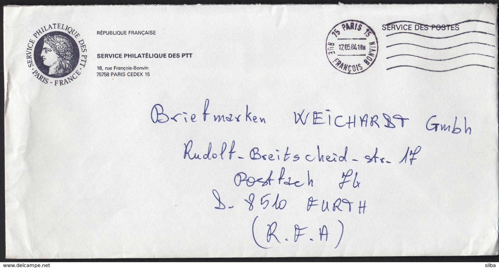 France Paris 1984 / Service Des Postes, Postage Paid / Service Philatelique Des PTT / Coat Of Arms / Machine Stamp - Cartas