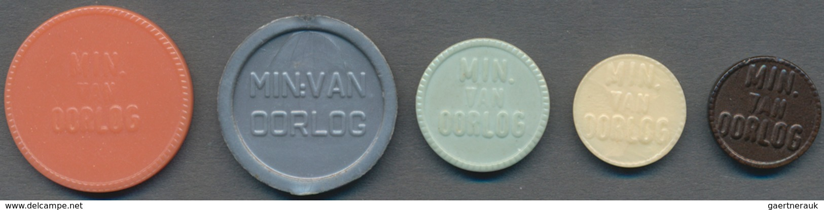 "Niederlande: Plastic Money ""Ministerie Van Oorlog"": 1, 5, 10, 100, 500 Cents ND (1946-53) Token. Rar - [ 2] 1795-1814 : Protectorat Français & Napoléonien"