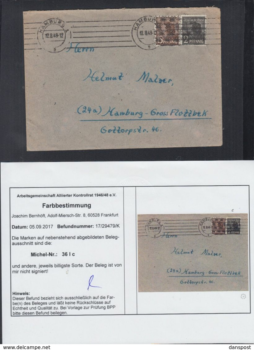 Alliierte Besetzung Brief Mit Farbbestimmung - Bizone