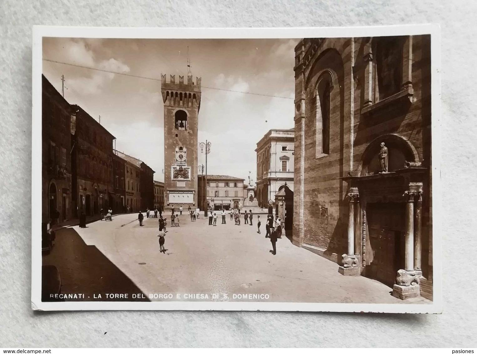 Cartolina Illustrata Recanati - La Torre Del Borgo E Chiesa Di S. Domenico, Non Viaggiata - Otras Ciudades