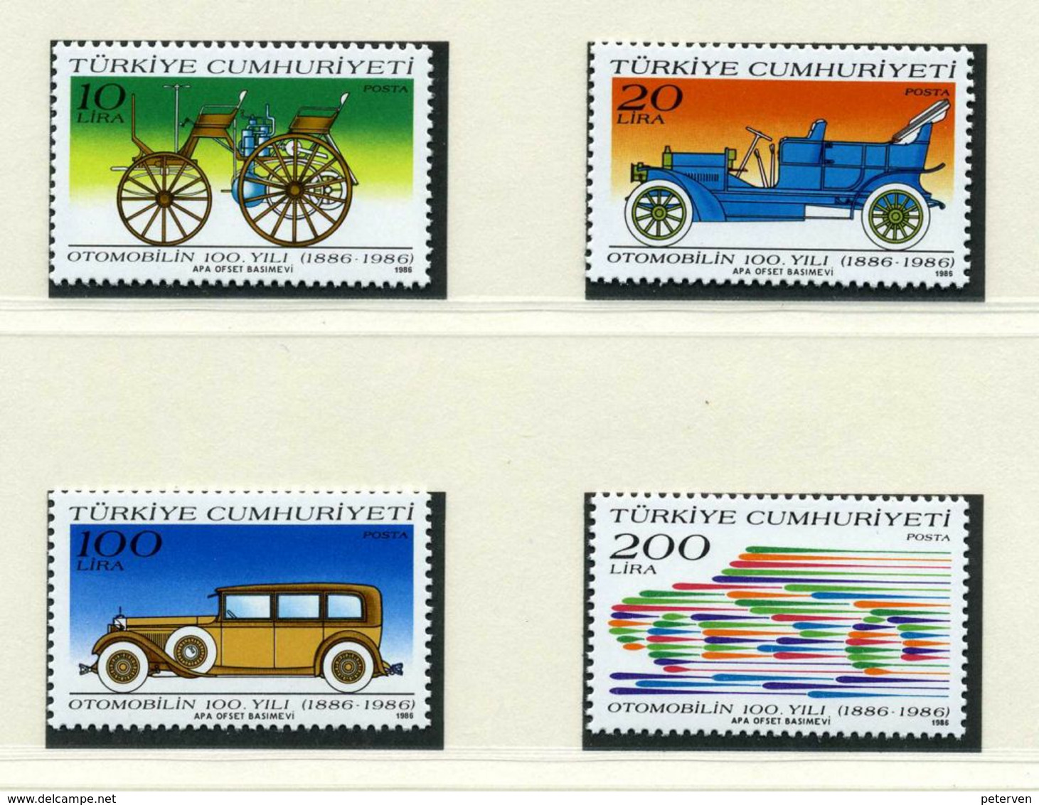 Türkei: Histor. Automobile1986; Postfrisch/MNH - Cars