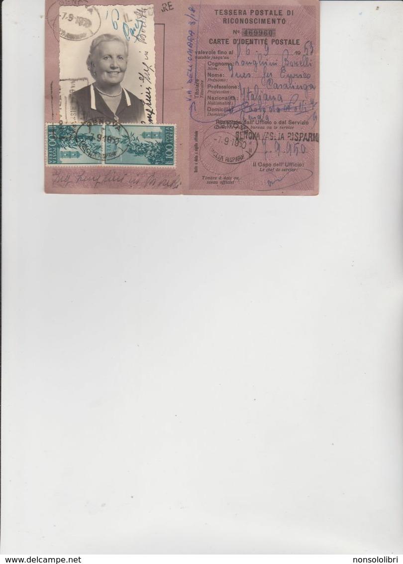 TESSERA  POSTALE  DI  RICONOSCIMENTO  DEL  1950  CON  2  FRANCOBOLLI  DI  POSTA  AEREA. - 1946-60: Poststempel