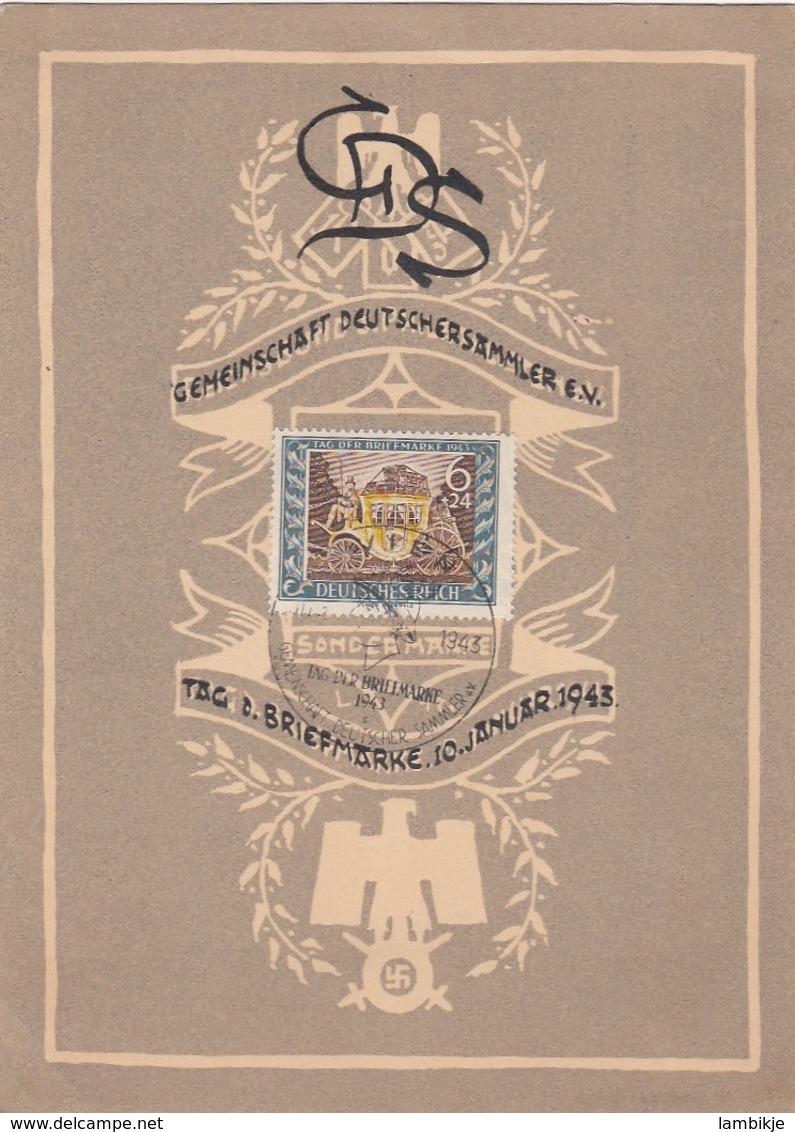 Deutsches Reich Gedenkblatt 1943 Tag Der Briefmarke - Germany