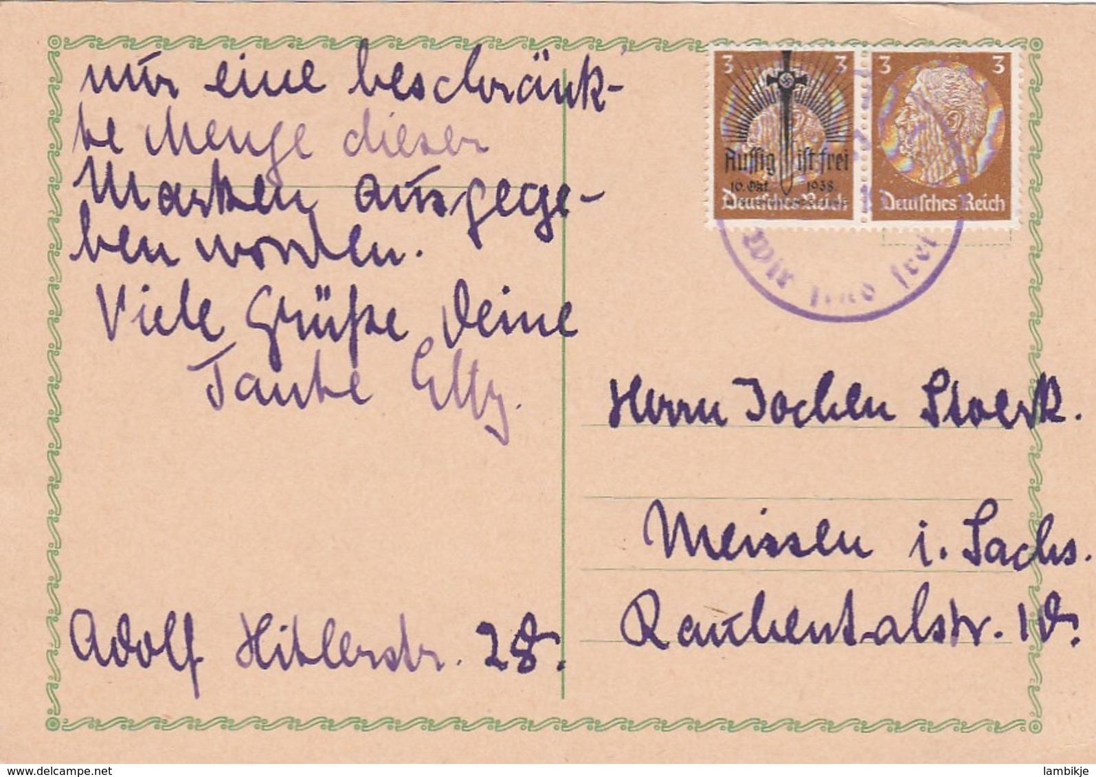 Deutsches Reich Sudetenland Postkarte 1938 Wir Sind Frei - Sudetenland