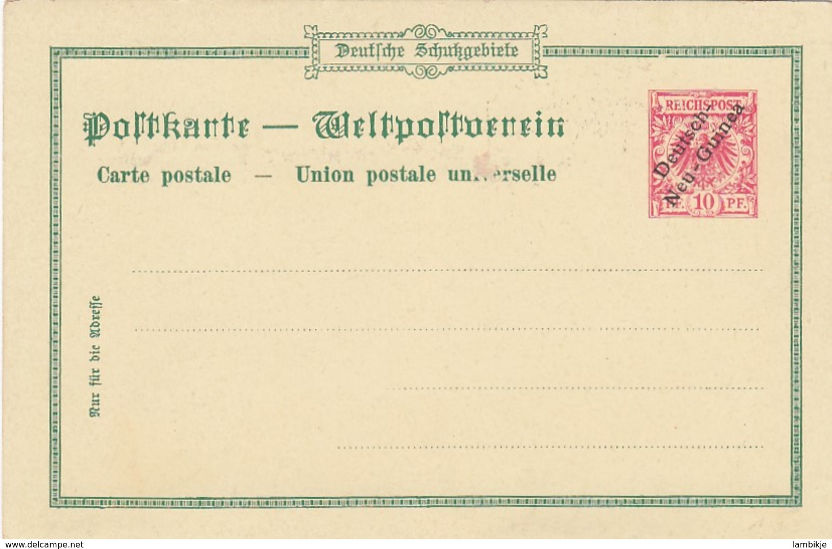 Deutsches Reich Kolonien New Guinea Postkarte 1898 - Colony: German New Guinea