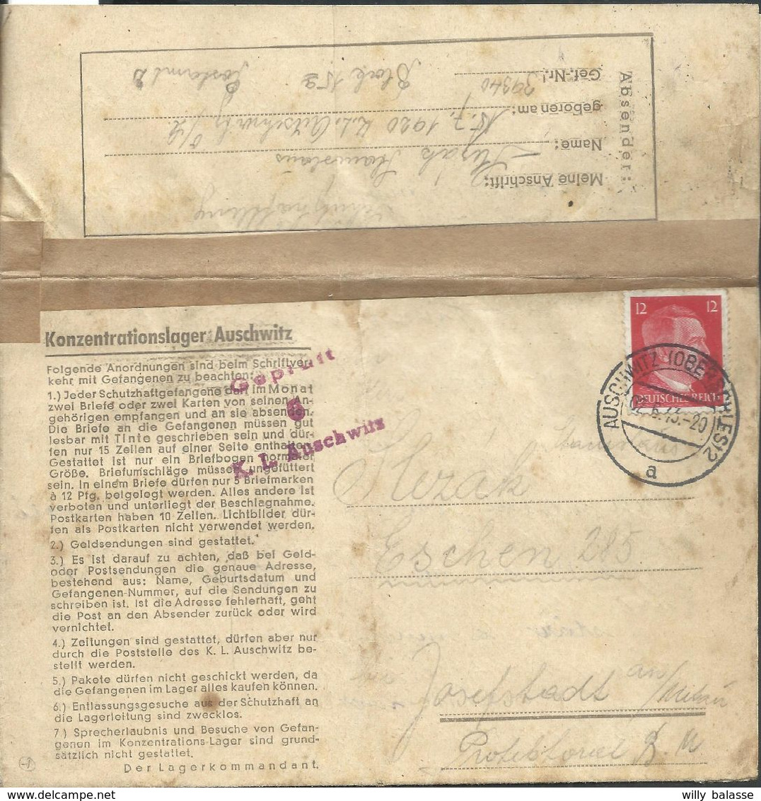 L. Konzentrationslager Auschwitz Affr 12  Pfg Càpt AUSCHWITZ (OBERSCHLES)2/1943 + Cens D'Auschwitz Pour Josephbad - Duitsland