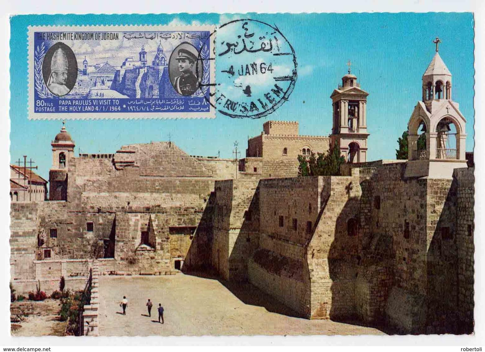 Jordan 1964, Jerusalem, FDC - MAXI CARD, RRR !!! - Jordan