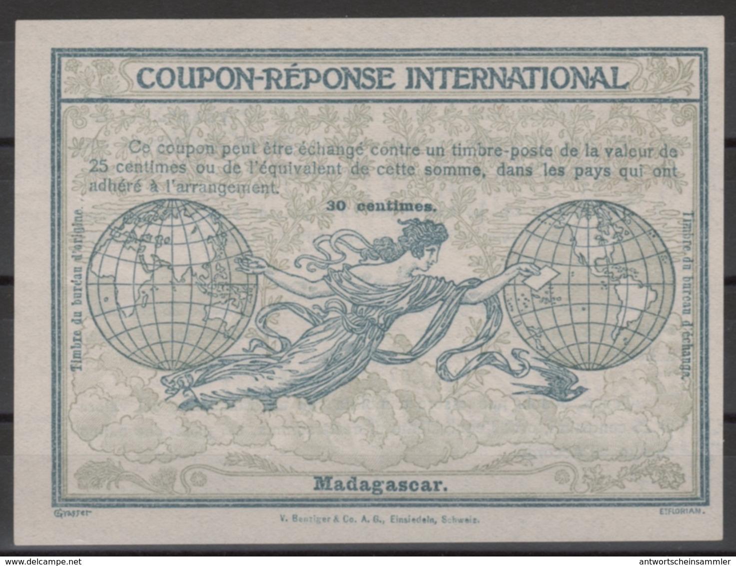 MADAGASCAR 1910, FirstRome Type Ro430 Centimes International Reply Coupon Reponse Antwortschein IAS IRC  Mint ** - Madagascar (1889-1960)