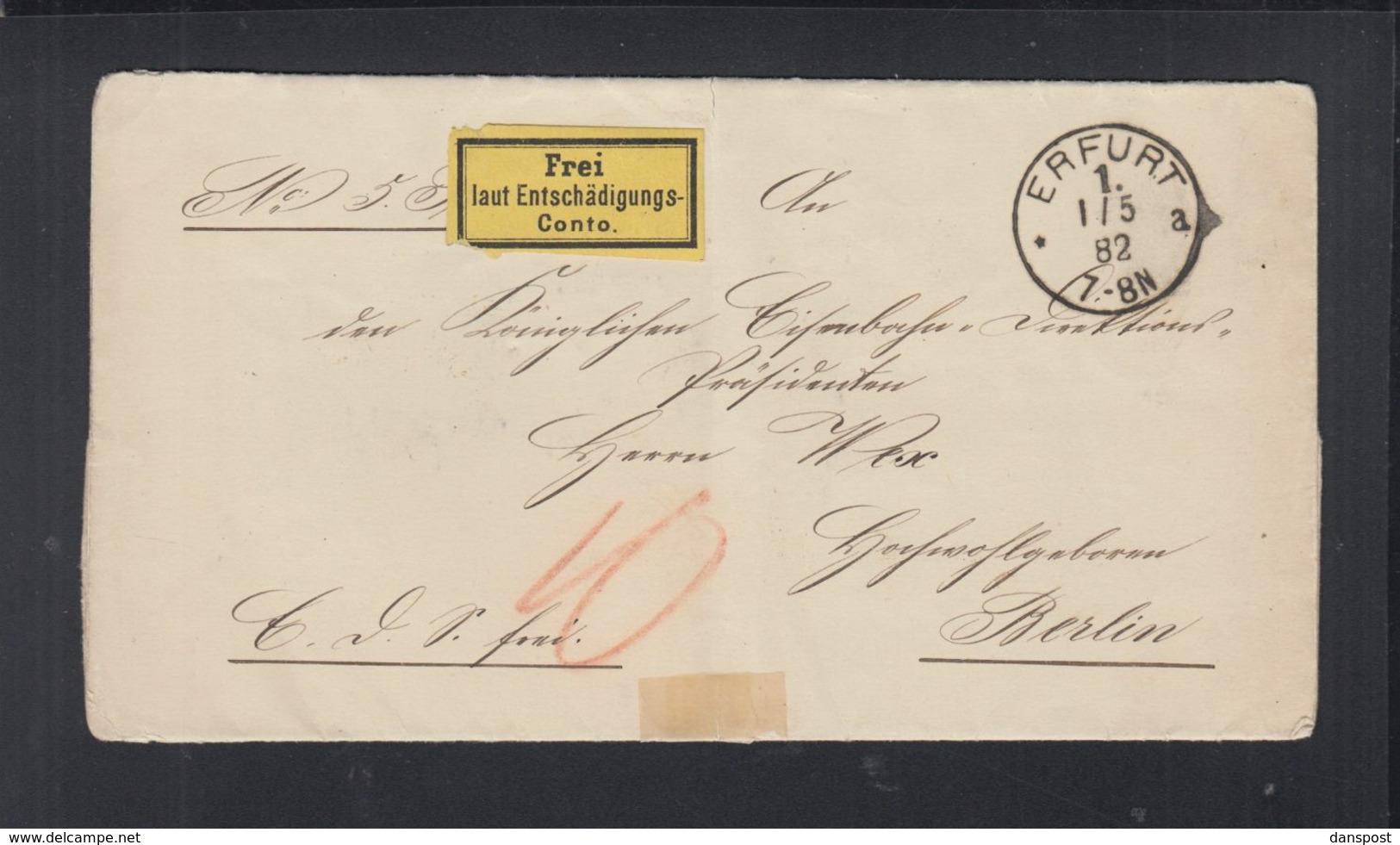 Dt. Reich Falthülle Frei Lt. Entschädigungskonto Erfurt 1882 - Deutschland