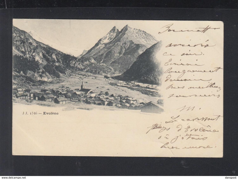 Schweiz AK Evolene 1900 Gelaufen - VS Wallis