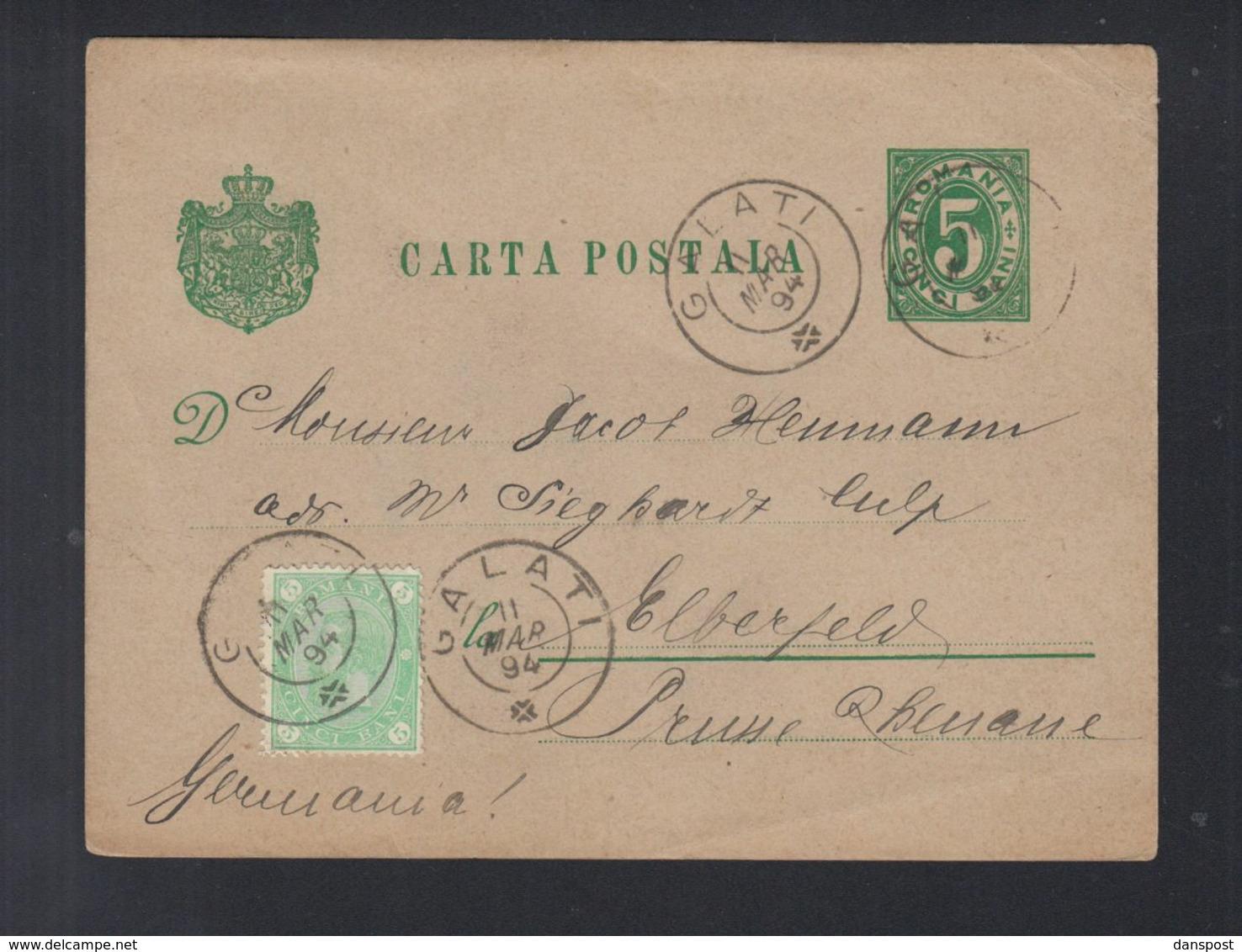 Rumänien Romania GSK Mit ZuF 1894 Galati Nach Deutschland - 1881-1918: Carol I.