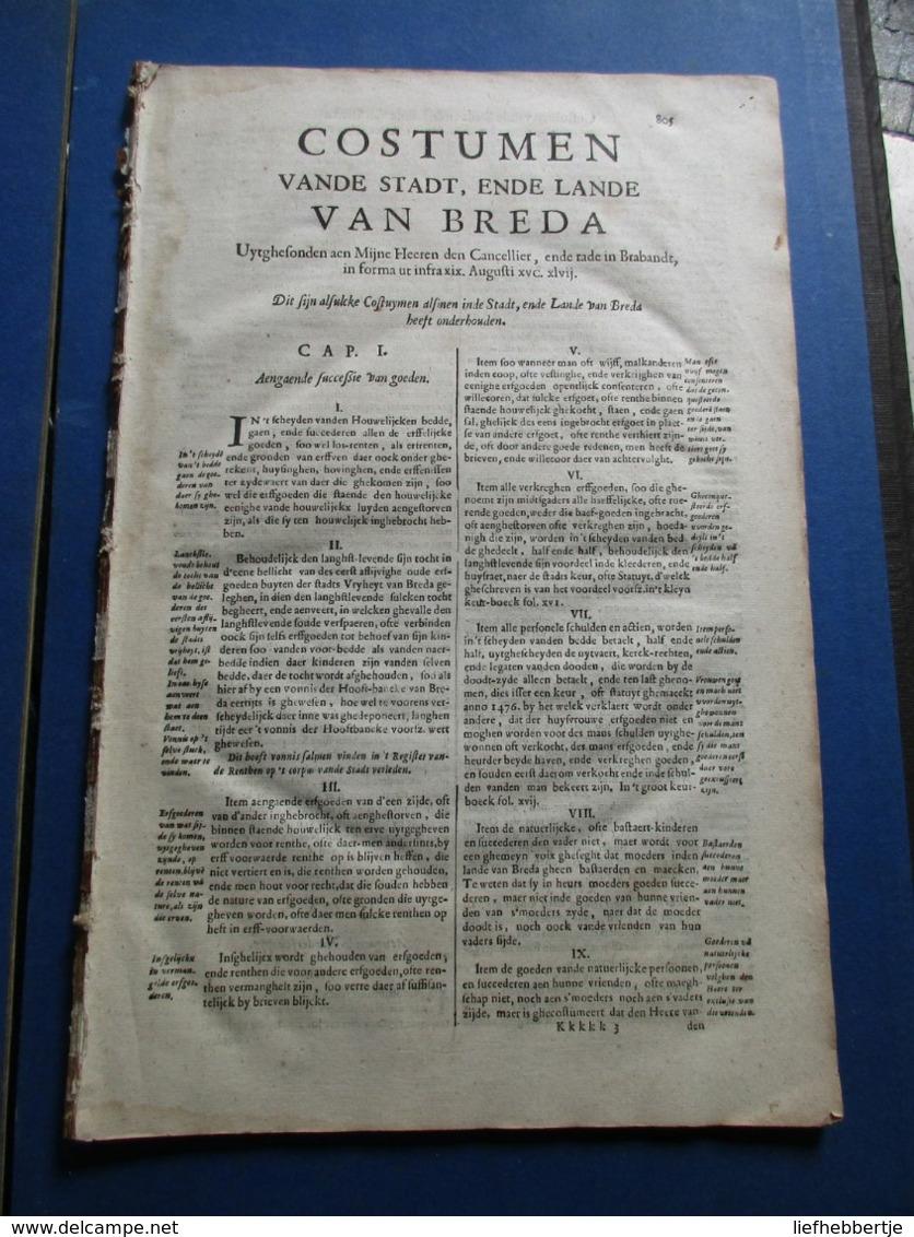 Costumen Vande Stadt, Ende Lande Van Breda - Wellicht Ca 1682 - Gewoonterecht - Recht - Decrees & Laws