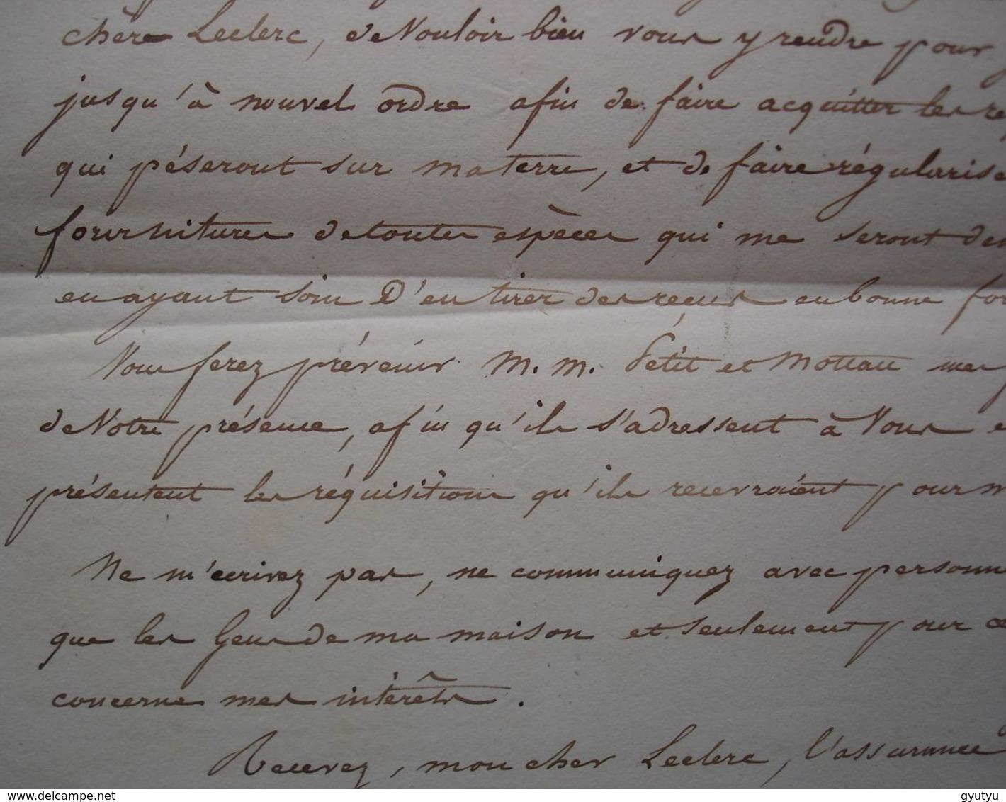 Empire Davout Maréchal Prince D'Eckmühl Duc D'Auerstaedt Lettre Autographe Du 19 Mars 1815, Veille Des 100 Jours ! - Documentos Históricos