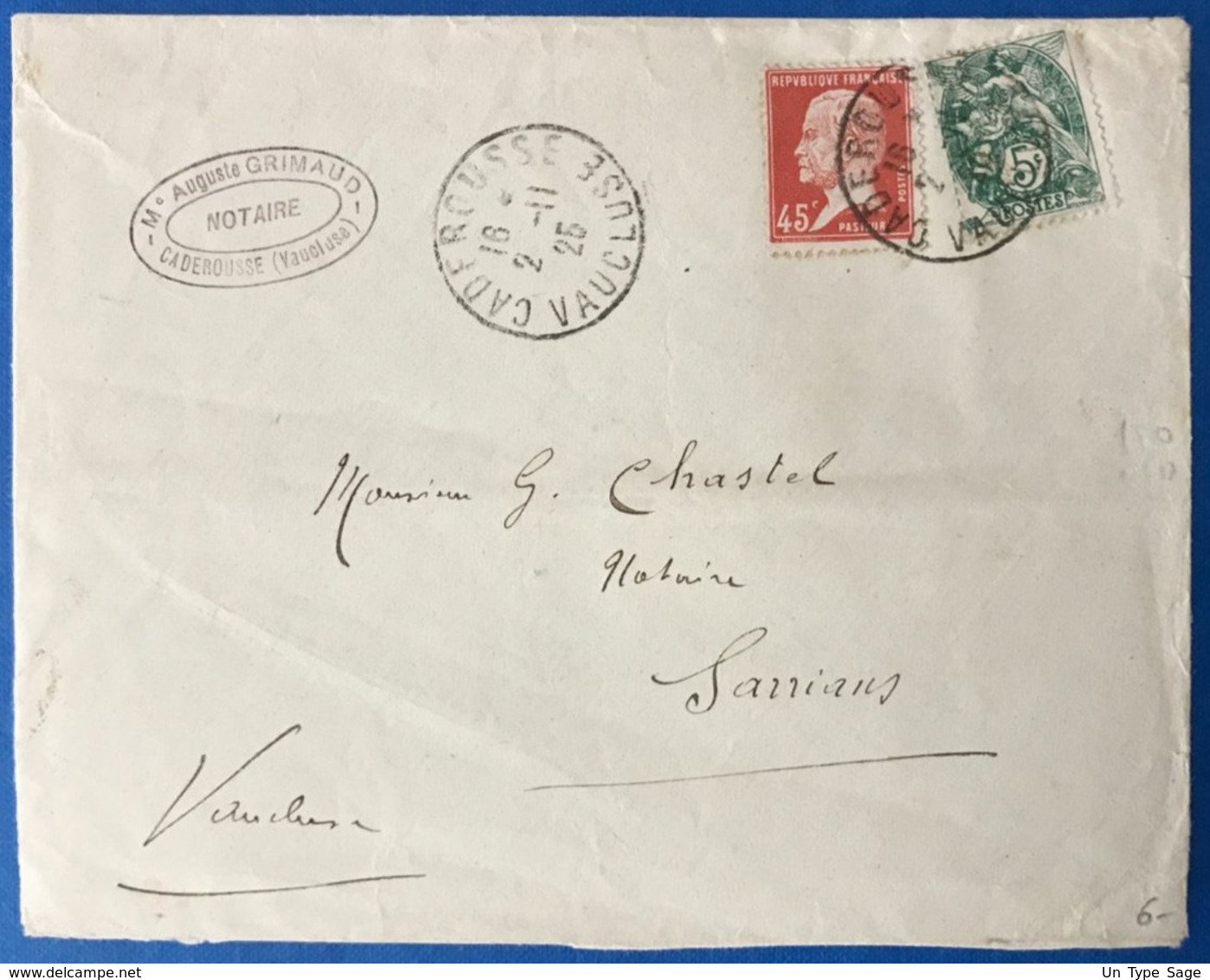 France N°111 Et 175 Sur Enveloppe  - TAD CADEROUSSE, Vaucluse 1925 - (B3502) - 1921-1960: Modern Tijdperk