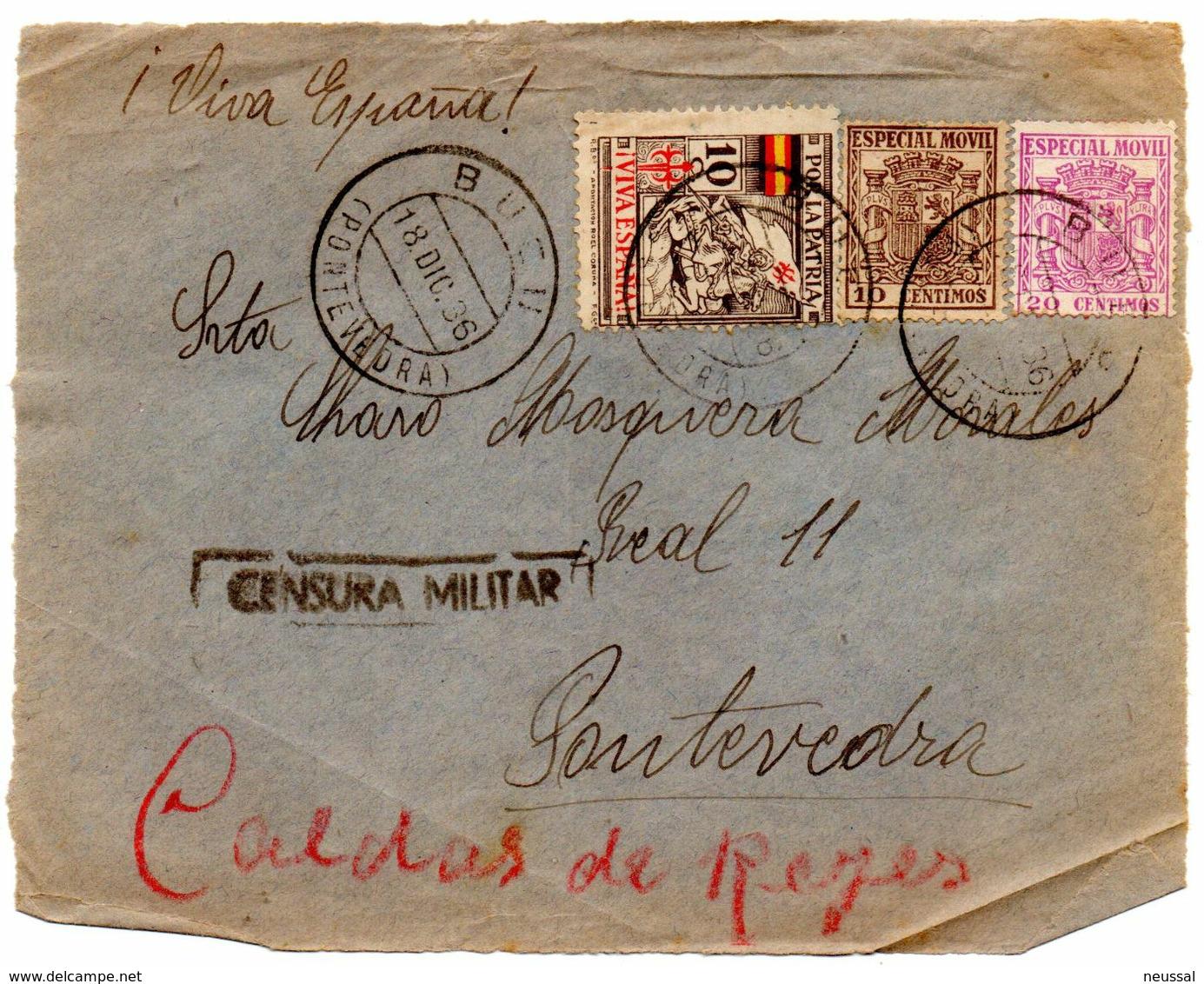 Frontal De Carta  Con Censura Militar  Y Con Sello Especial Movil  Matasellos Bueu. 1936 - 1931-50 Cartas