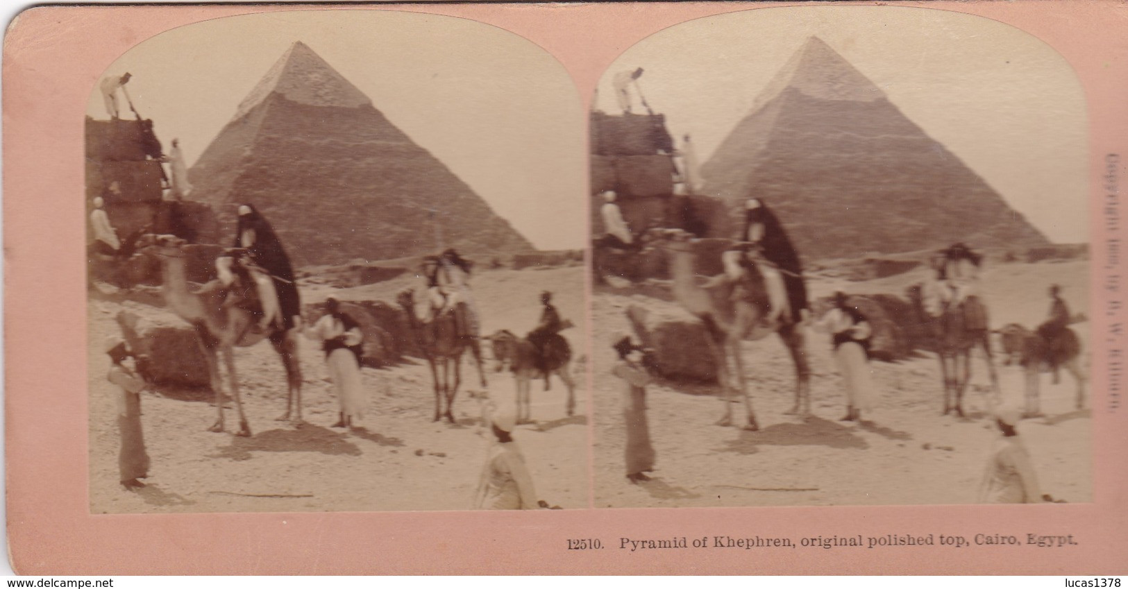 STEREO PHOTO  KILBURN YEAR 1898 / CAIRO / PYRAMID OF KHEPHREN / ORIGINAL POLISHED TOP - Cairo