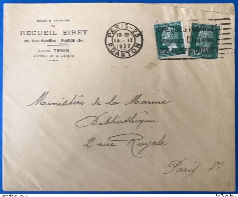 France N°172 Et 174 Sur Enveloppe 15.2.1927 - Paris (en Local) - (B3532) - 1921-1960: Modern Tijdperk