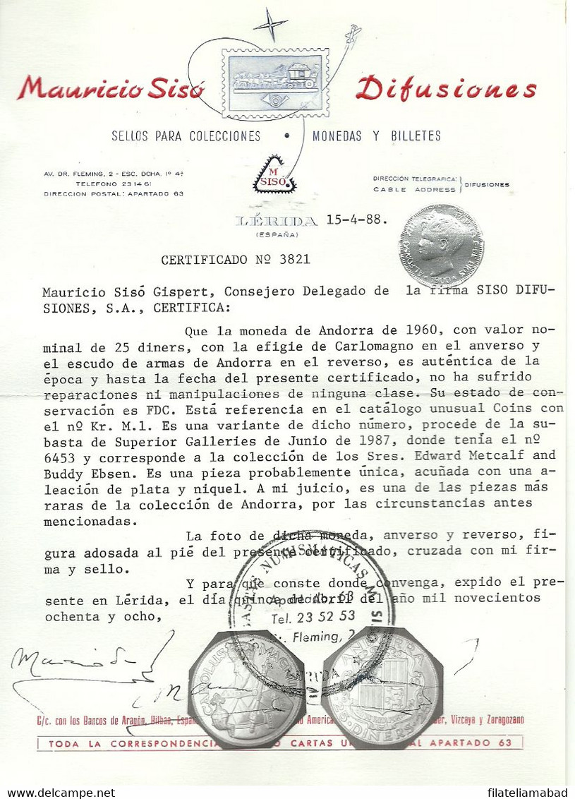 ANDORRA MONEDA  SUS CARACTERITICAS SEGUN FIGURAN EN SU CERTIFICDO DE ATENTICIDAD (J.F.N) - Andorra