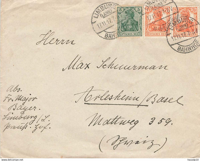 DR Brief Mif. Limburg Bahnhof 17.11.17 Arlesheim Schweiz - Cartas