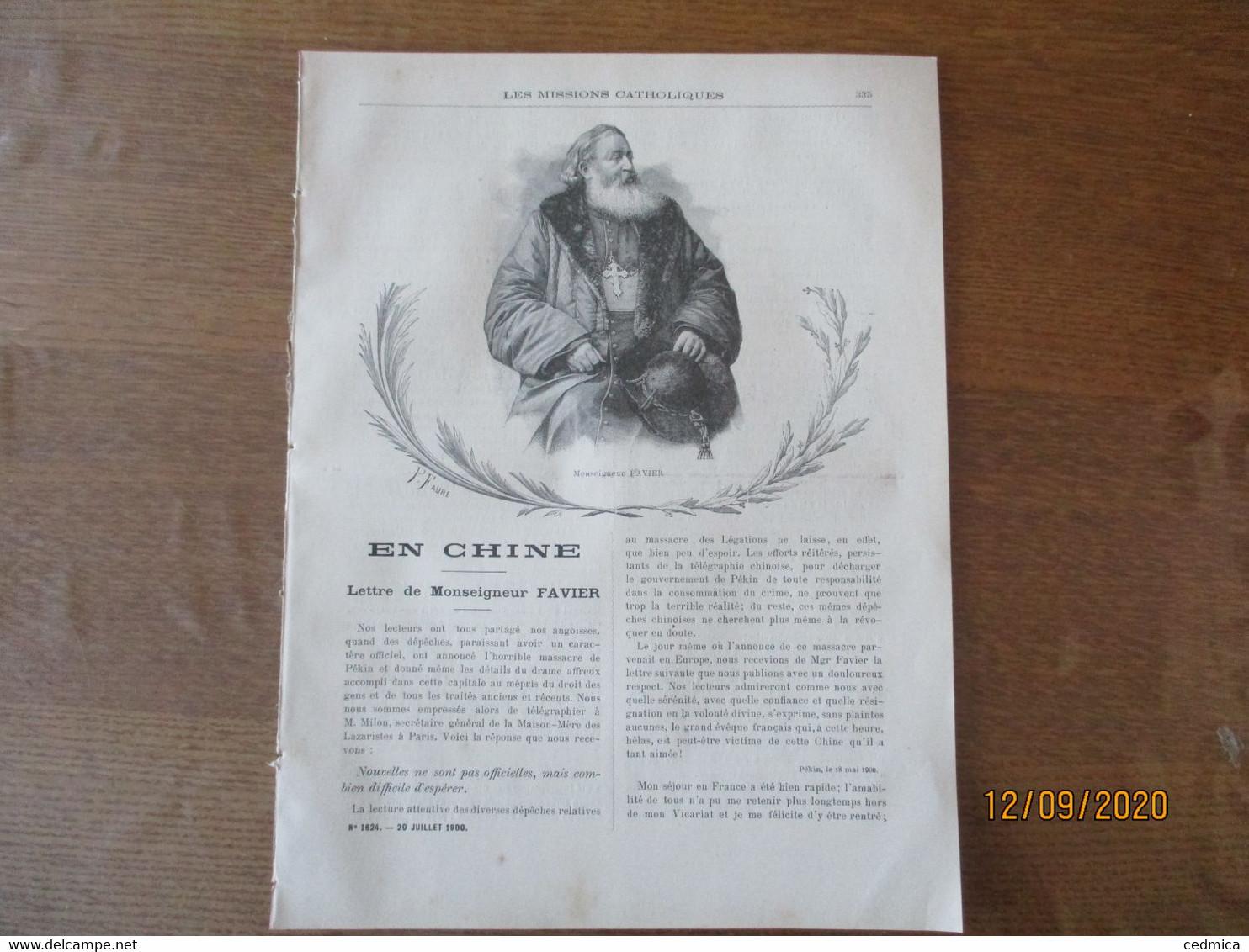 LES MISSIONS CATHOLIQUES DU 20 JUILLET 1900 EN CHINE HOU-NAN MERIDIONAL,TCHE-LI SUD-EST,PEKIN,CHEZ LES FANG GABON,FUMEU - 1900 - 1949