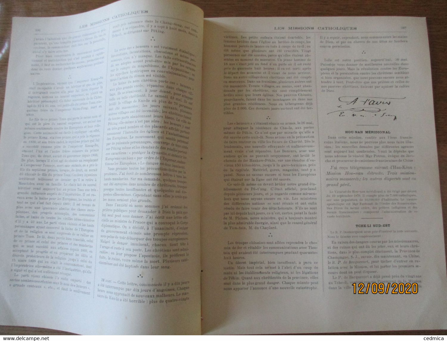 LES MISSIONS CATHOLIQUES DU 20 JUILLET 1900 EN CHINE HOU-NAN MERIDIONAL,TCHE-LI SUD-EST,PEKIN,CHEZ LES FANG GABON,FUMEU - Books, Magazines, Comics