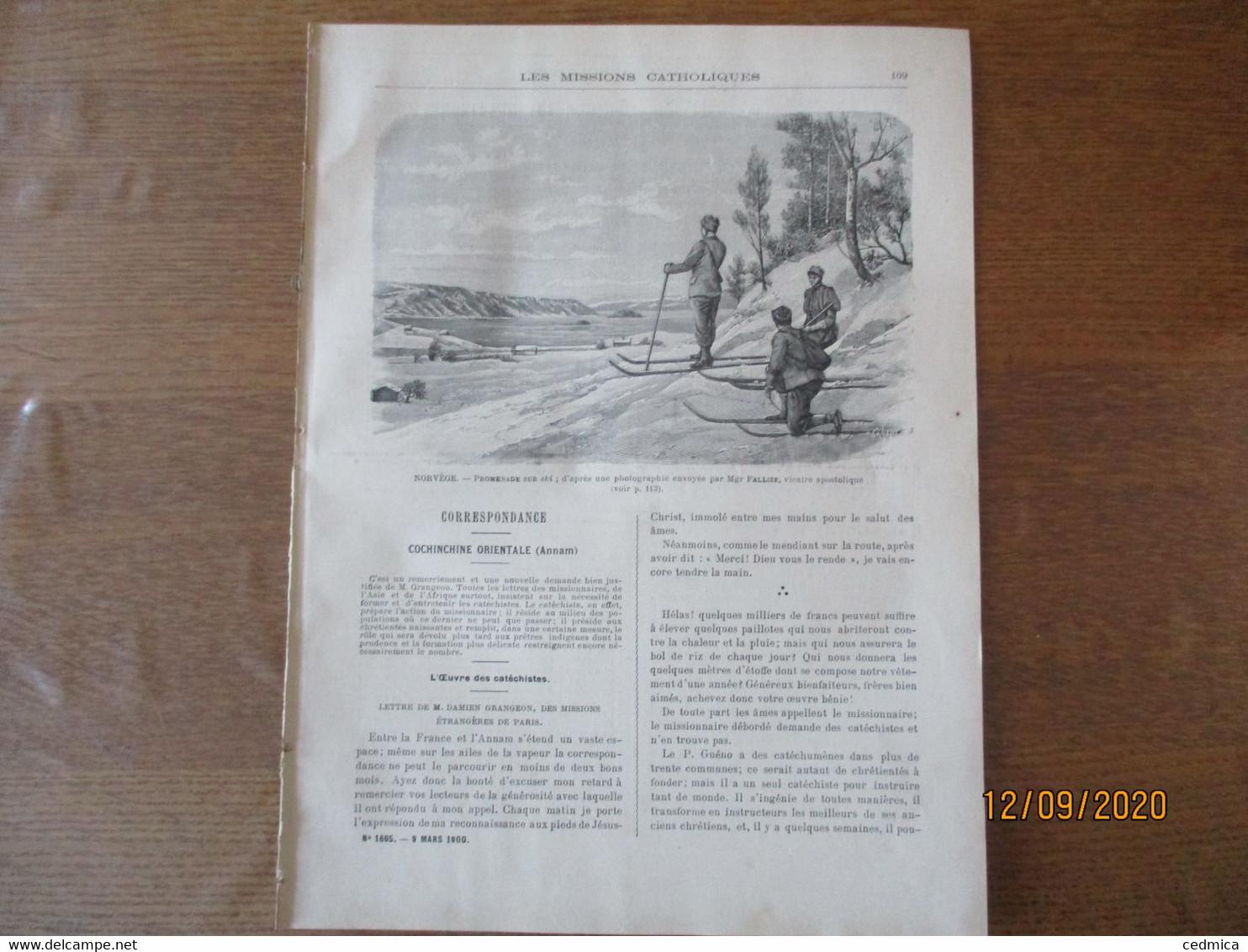 LES MISSIONS CATHOLIQUES DU 9 MARS 1900 COCHINCHINE ORIENTALE (ANNAM),INAUGURATION DE LA STATUE DU CARDINAL LAVIGERIE,NO - Books, Magazines, Comics