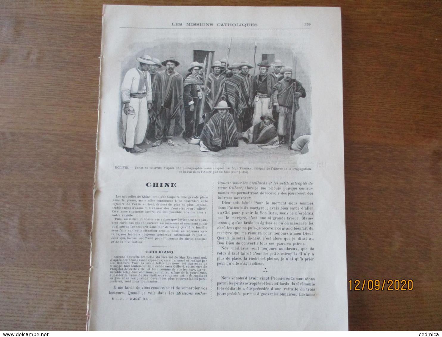 LES MISSIONS CATHOLIQUES DU 3 AOUT 1900 CHINE TCHE-KIANG,TCHE-LY,A KIMBERLEY PENDANT LA GUERRE DES BOERS ET DES ANGLAIS, - 1900 - 1949