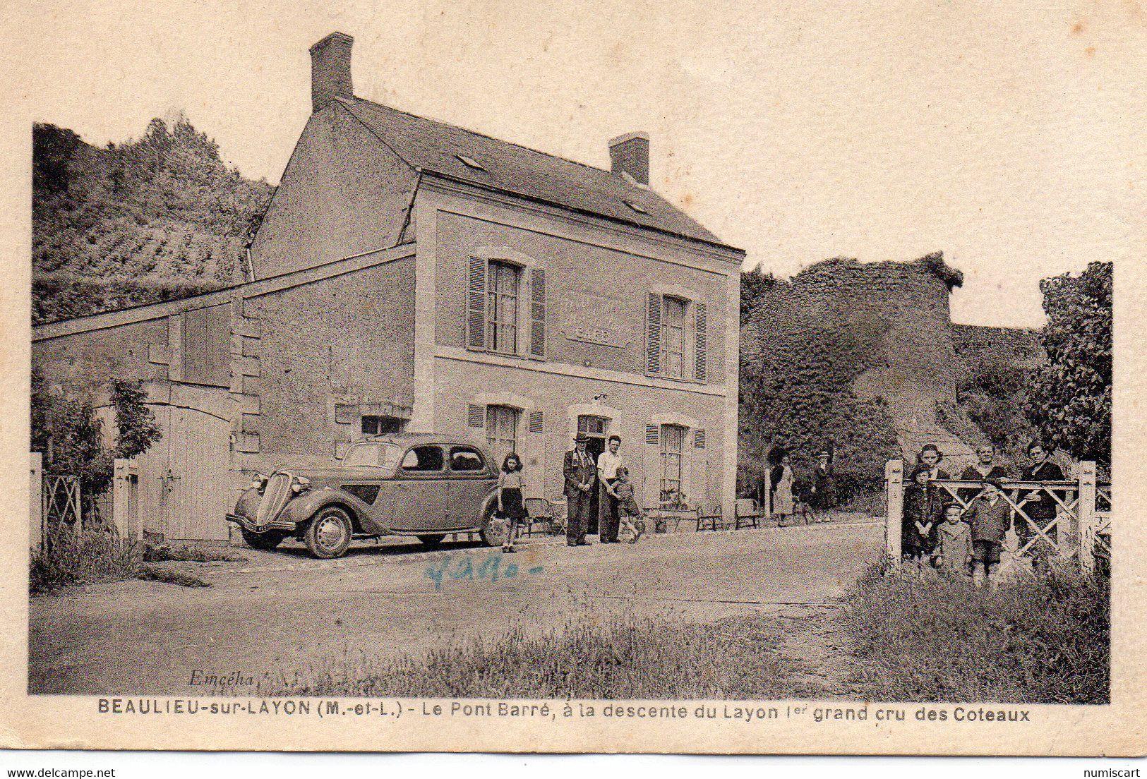 Beaulieu-sur-Layon Animée Le Pont Barré Vignes Belle Peugeot 202 Voiture Beau Visuel - Autres Communes