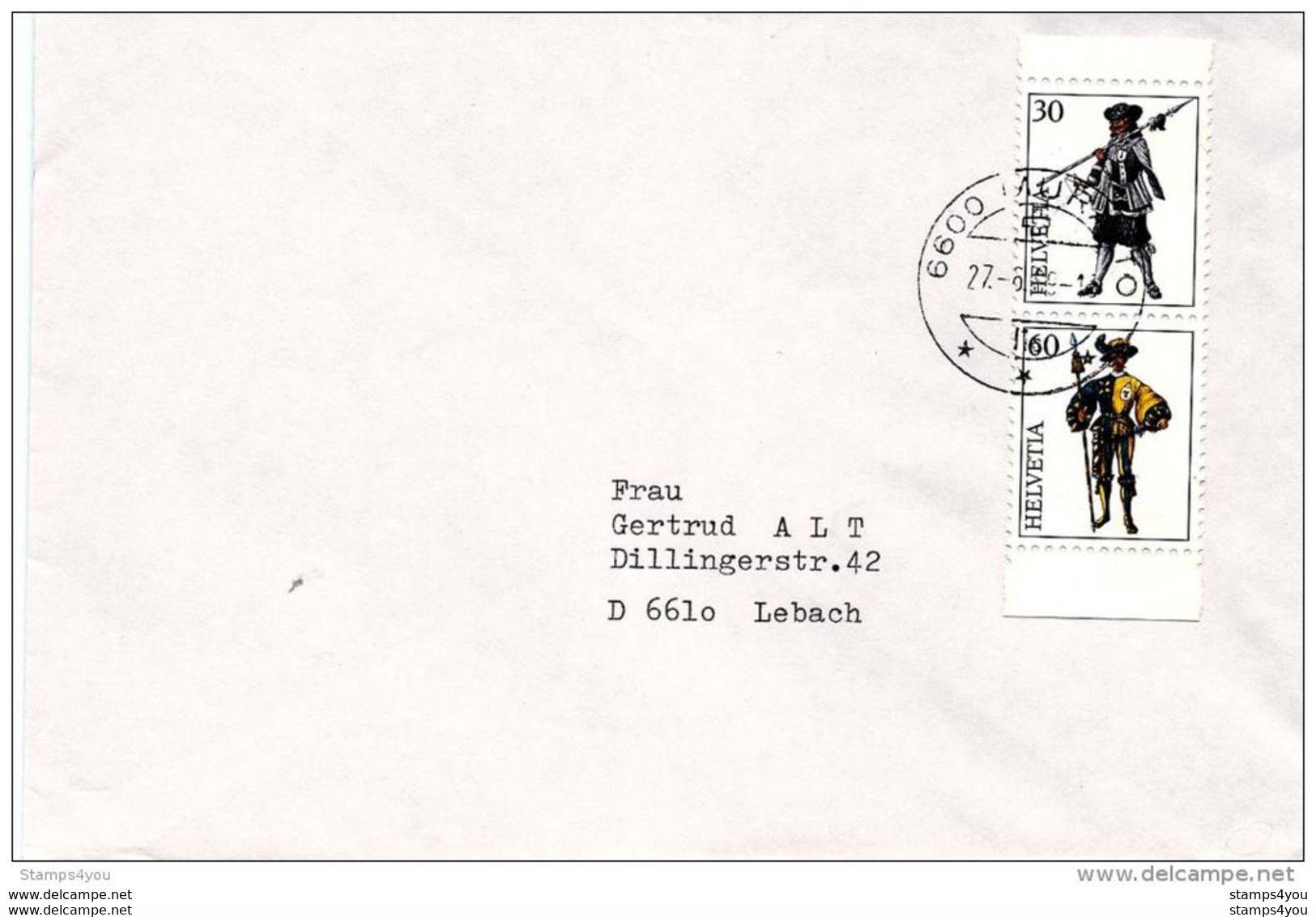 190 - 20 - Enveloppe Avec Timbres Découpé Bloc Intgernaba - Paire Verticale - Oblit De Muralto - Postmark Collection