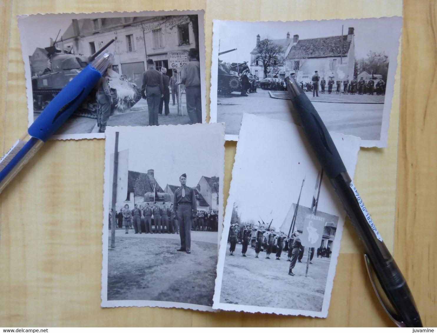 37 LIGUEIL - CHAR TANK 1945 PLACE DU GENERAL LECLERC 4 PHOTOGRAPHIES  MILITARIA  GUERRE MILITAIRE TOURS - Autres Communes