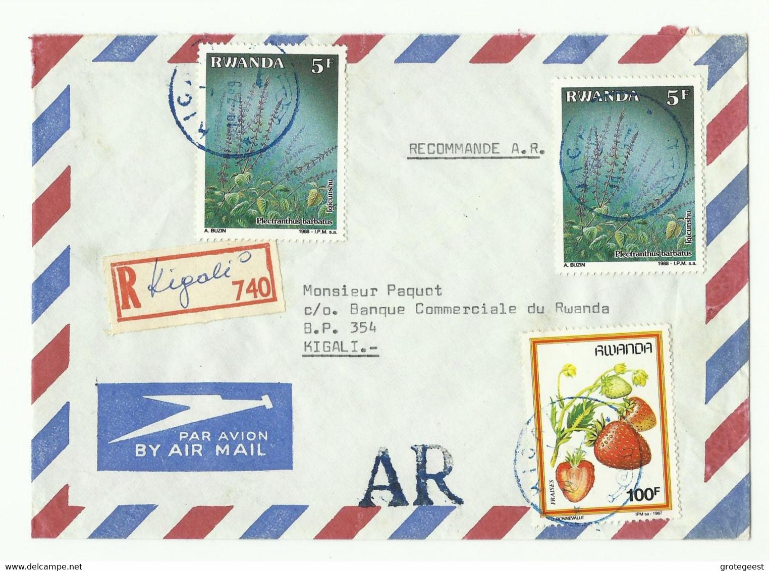Lettre Par Avion Recommandée De KIGALI + Griffe AR Vers Kigali - 16163 - Luftpost