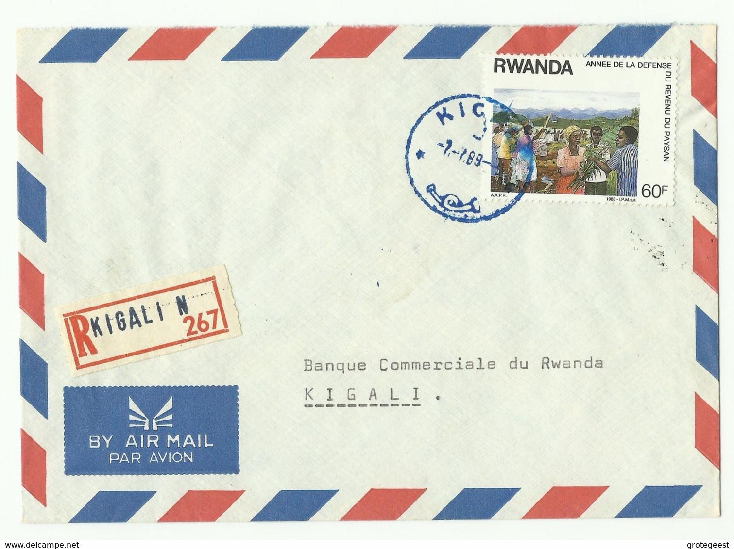 Lettre Recommandée De KIGALI 1989 Vers Kigali - 16165 - Sonstige
