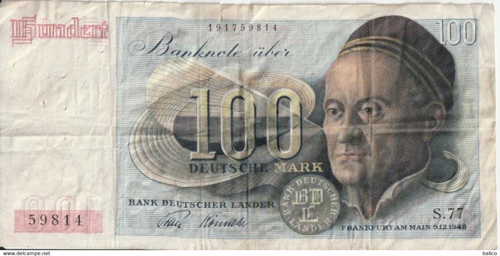 100   Mark    Allemagne   9 - 12 - 1948 - 100 Mark