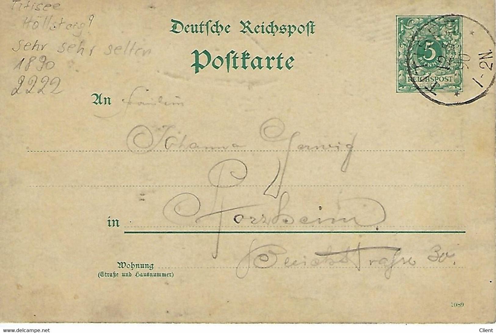 ALLEMAGNE - TRES TRES TRES RARE -  Titisee - Höllsteig - 1890 Handgezeichnet  Wahrscheinlich Unikat - Titisee-Neustadt