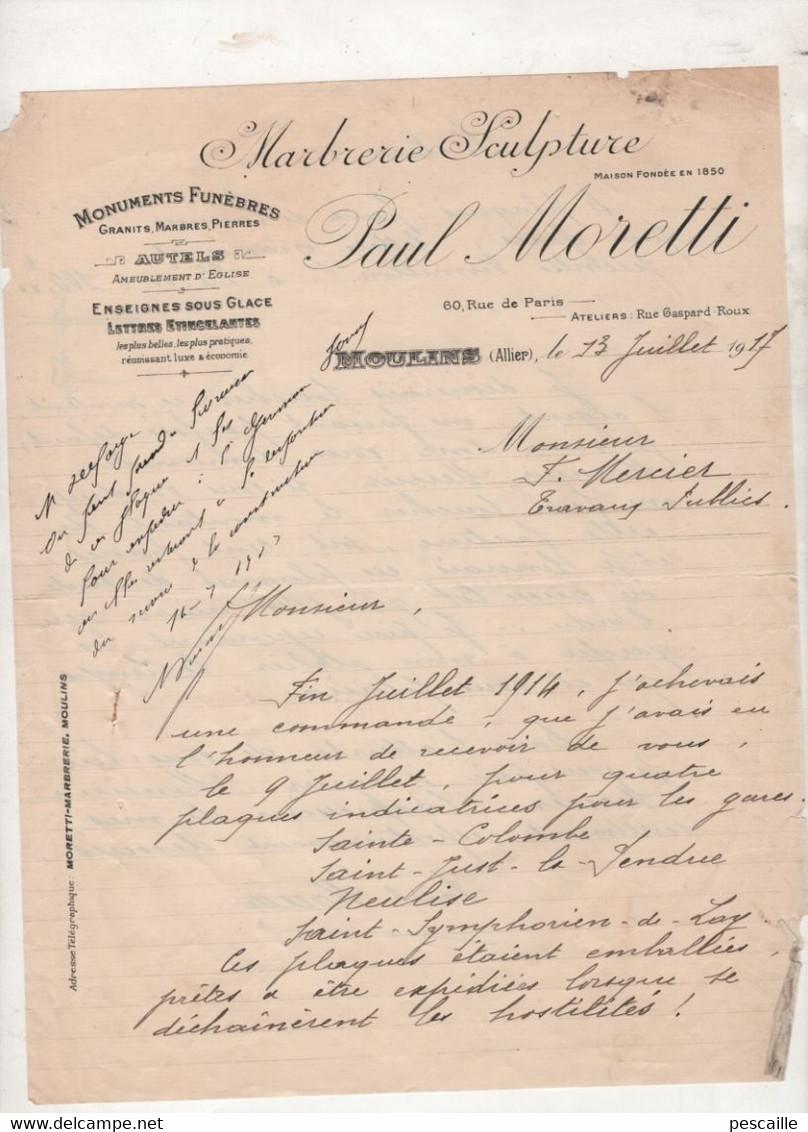 03 ALLIER 1917 - MOULINS - FACTURE PAUL MORETTI MARBRERIE SCULPTURE MONUMENTS FUNEBRES AUTELS  - PLAQUES POUR GARES 1914 - Old Professions