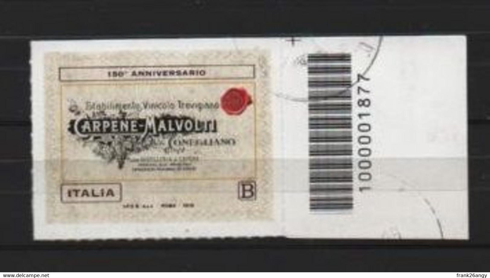 REPUBBLICA 2018 - 150º Ann. Della Fondazione Della Cantina Carpenè Malvolti  Serie Cpl. 1v. Usato Con Barcode 1877 - 2011-...: Afgestempeld
