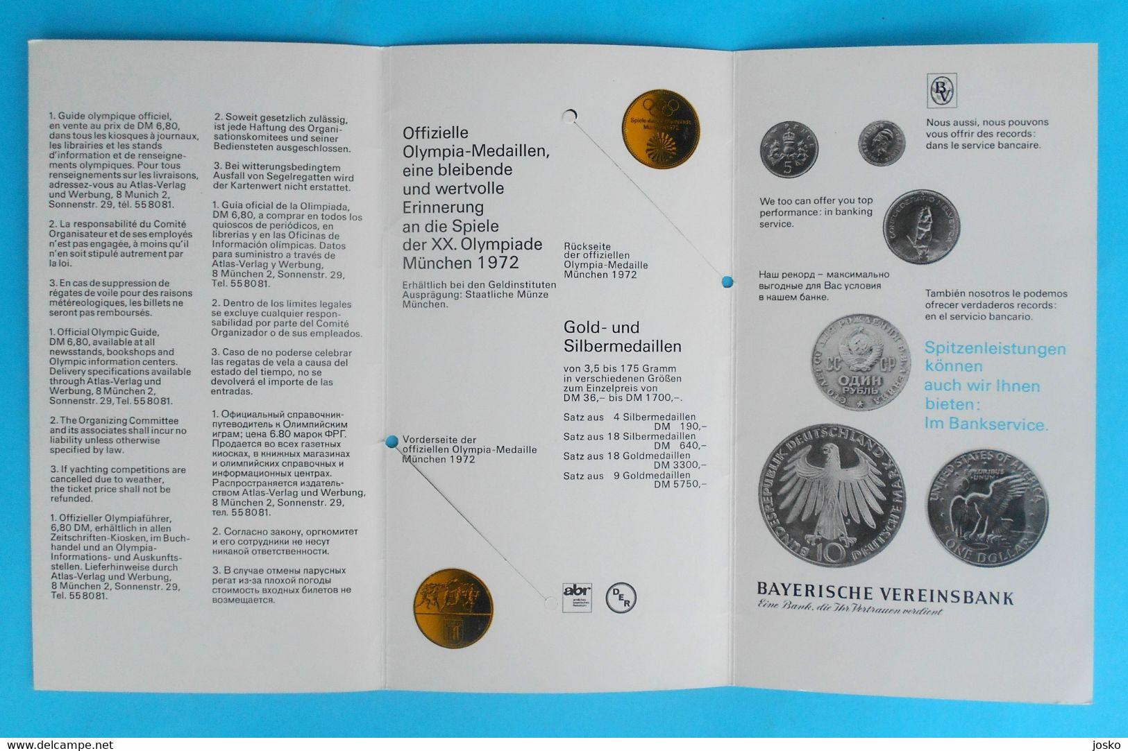 OLYMPIC GAMES MUNICH 1972 Old Brochure (olympics Medals) Jeux Olympiques Olympia Olympiade Olympische Spiele MUNCHEN '72 - Olympische Spelen