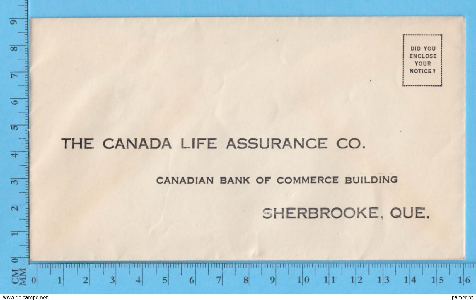 Enveloppe Commercial - Sun Life Insurance Co - Rue Frontenac Et Marquette Sherbrooke Que - Sin Clasificación