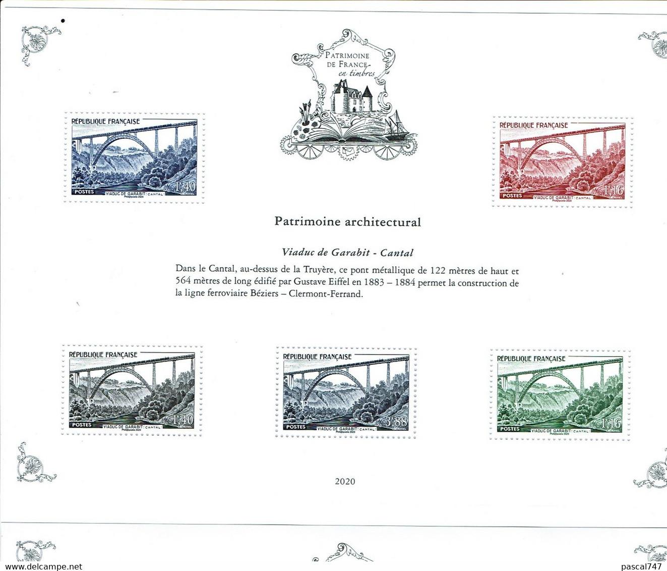 Patrimoine De France Timbres 2020 Bloc Viaduc Garabit Cantal - Unused Stamps