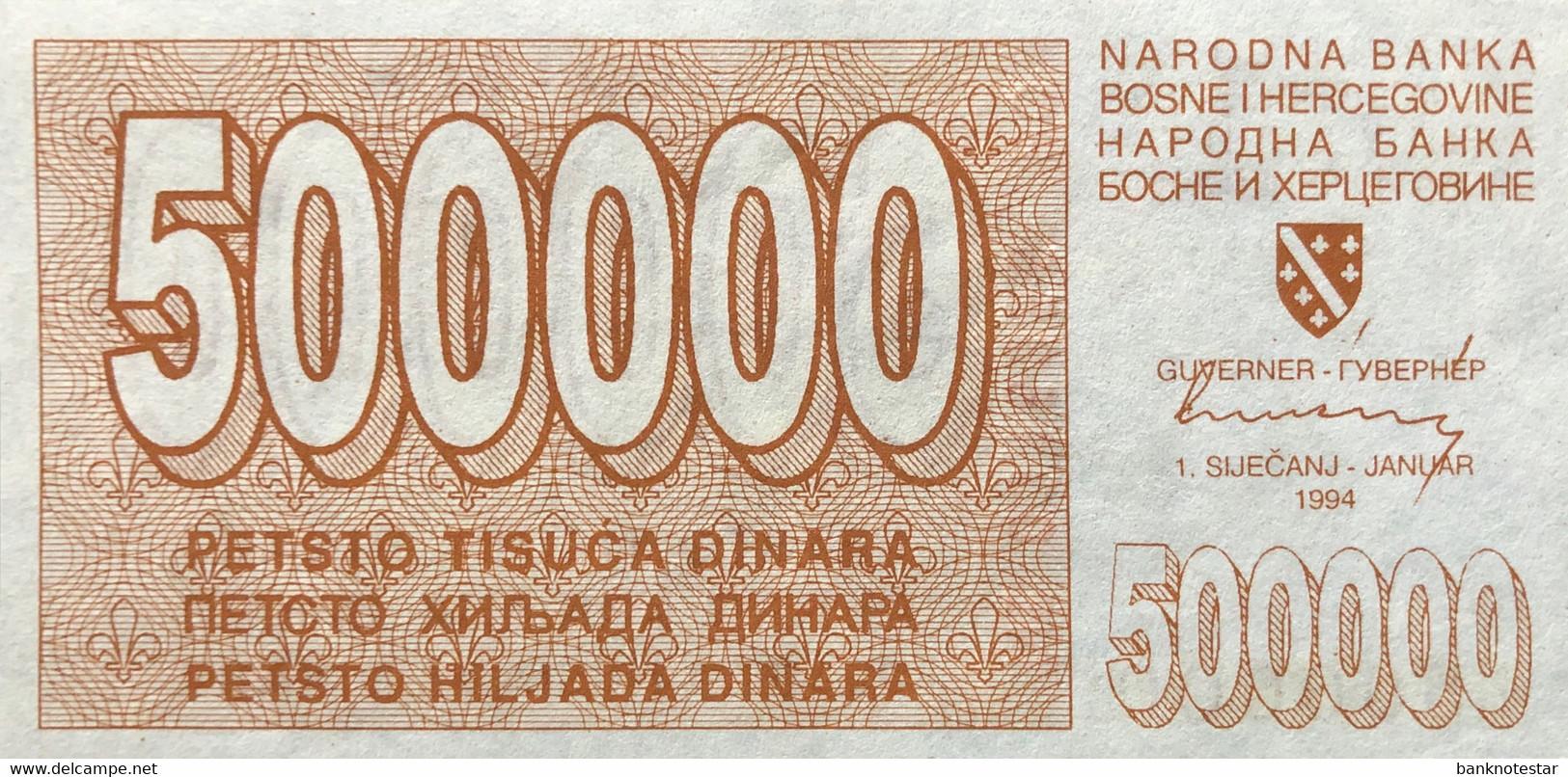 Bosnia 500.000 Dinara, P-32 (1.1.1994) - UNC - Very Rare In This Condition - Bosnia And Herzegovina