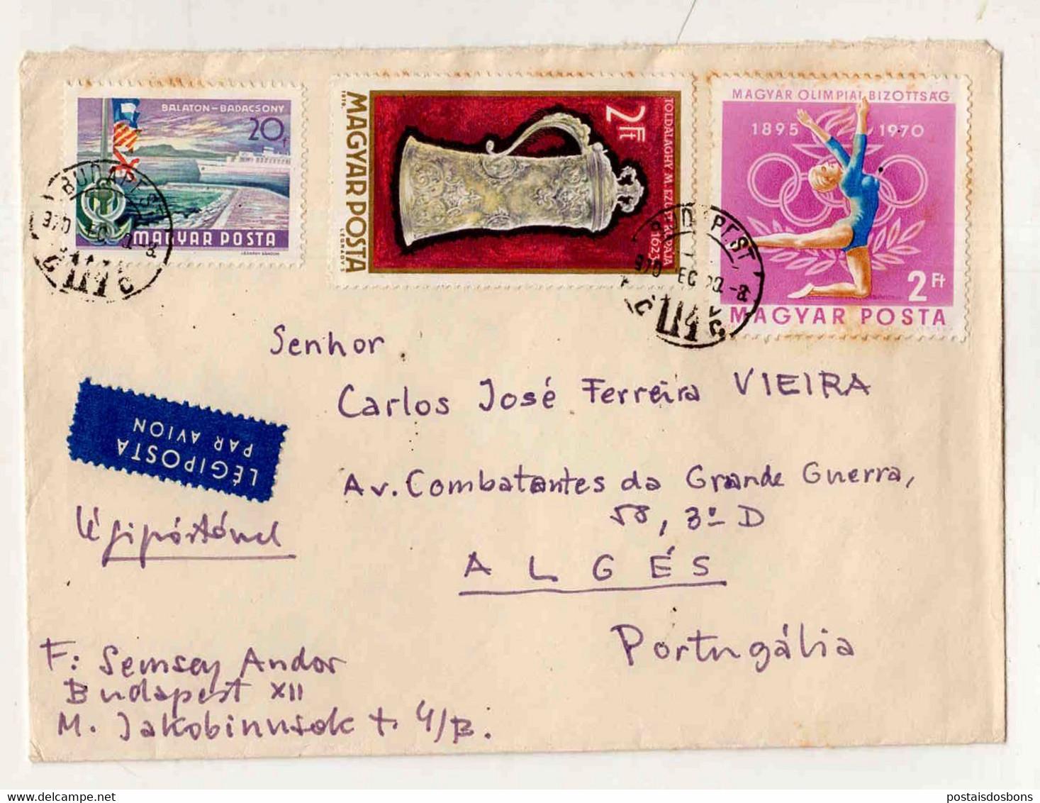 Cx15 56) Hongrie Hungary Magyar Posta 1970 Semsey Andor > Portugal Portugália Olimpiai Balaton - Unclassified