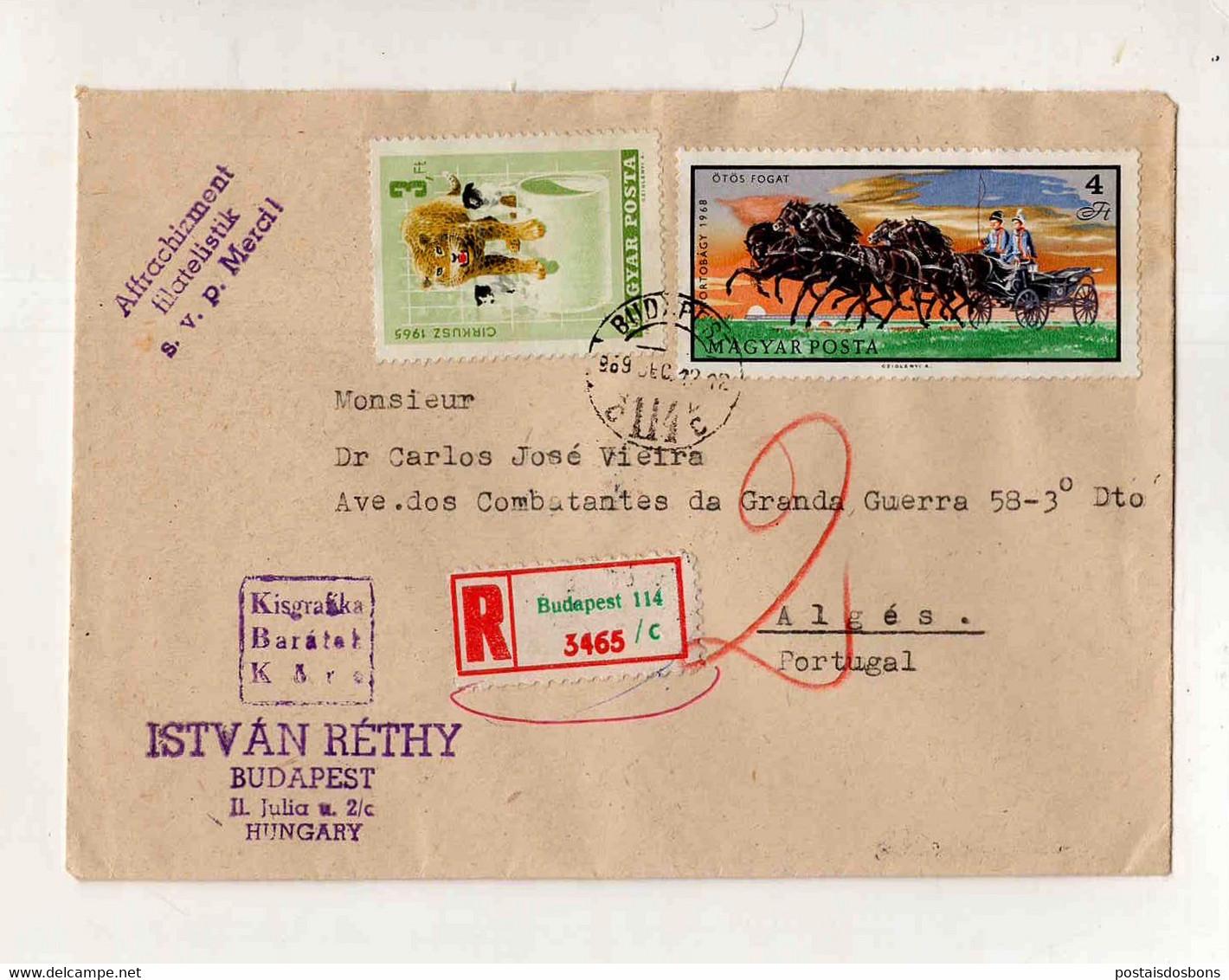 Cx15 58) Hongrie Hungary Magyar Posta 1969   Istvan Rethy > Portugal Portugália - Unclassified
