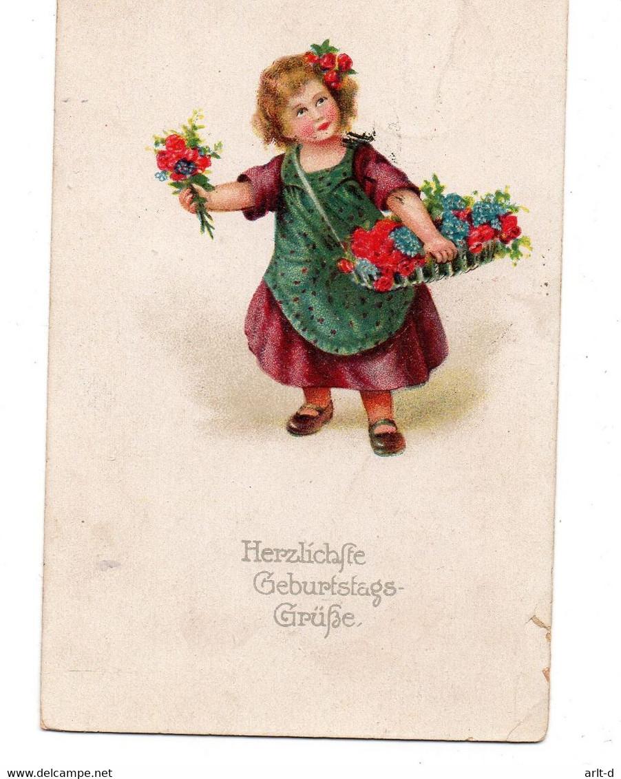 DC4120 - Herzliche Geburtstags - Grüße, Kleines Mädchen Mit Blumen Und Kleid - Cumpleaños