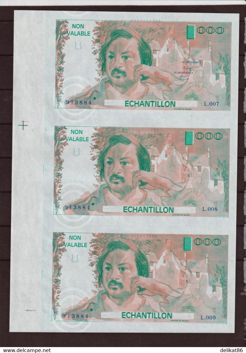 Probedruck Testbanknote Specimen Frankreich 1988 Echantillion Balzac 3er Block - Fiktive & Specimen