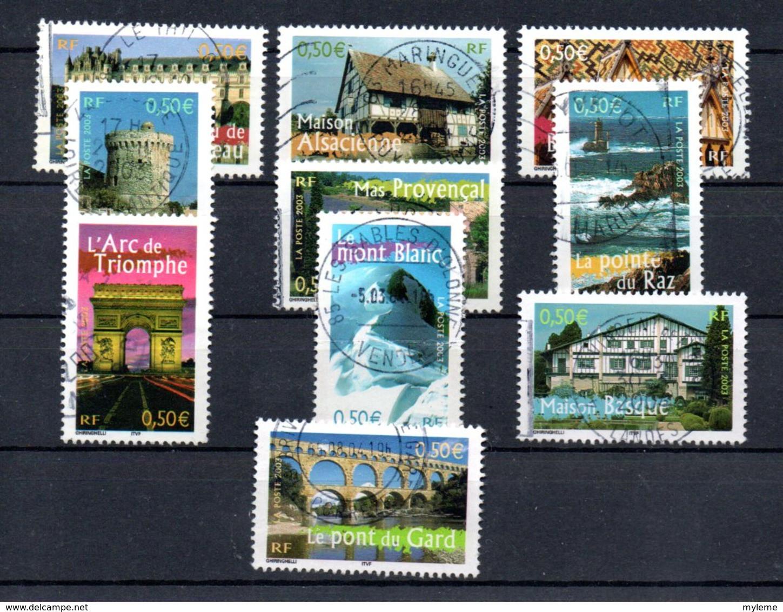 B387-14 France N° 3595 à 3604 Avec Oblitérations Rondes à - De 10% De La Côte !!! - Used Stamps