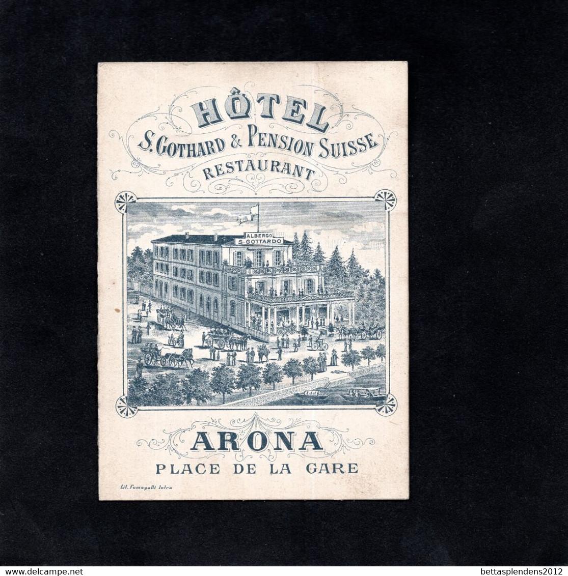 ARONA - Carte Publicitaire - HOTEL S. GOTHARD & PENSION SUISSE  Restaurant (Lac Majeur) - Curiosités D'Arona Et Environs - Other Cities