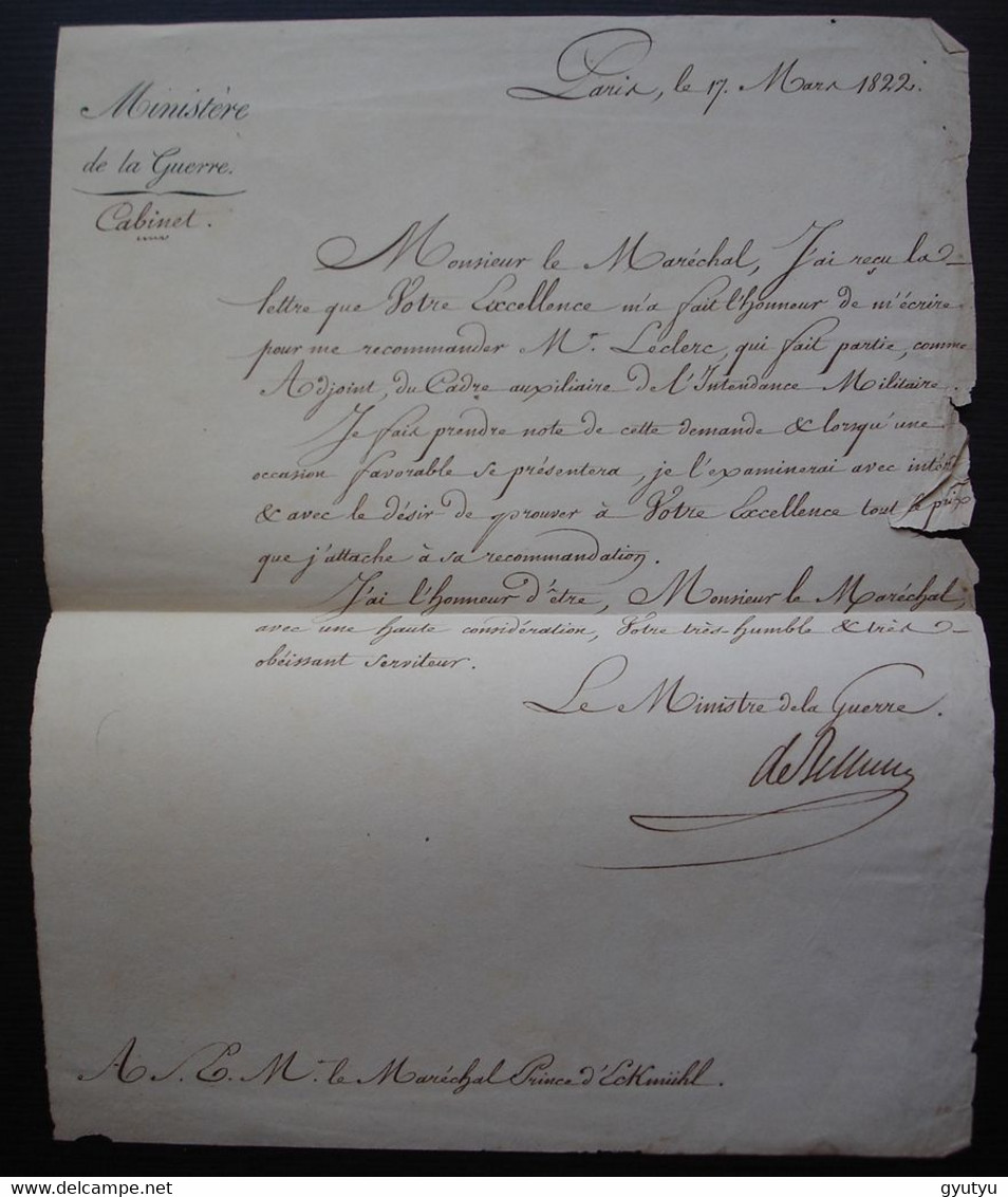 Duc De Bellune 1822 Ministre De La Guerre Claude Victor Perrin, Lettre Au Prince D'Eckmühl Nicolas Davout Restauration. - Historical Documents