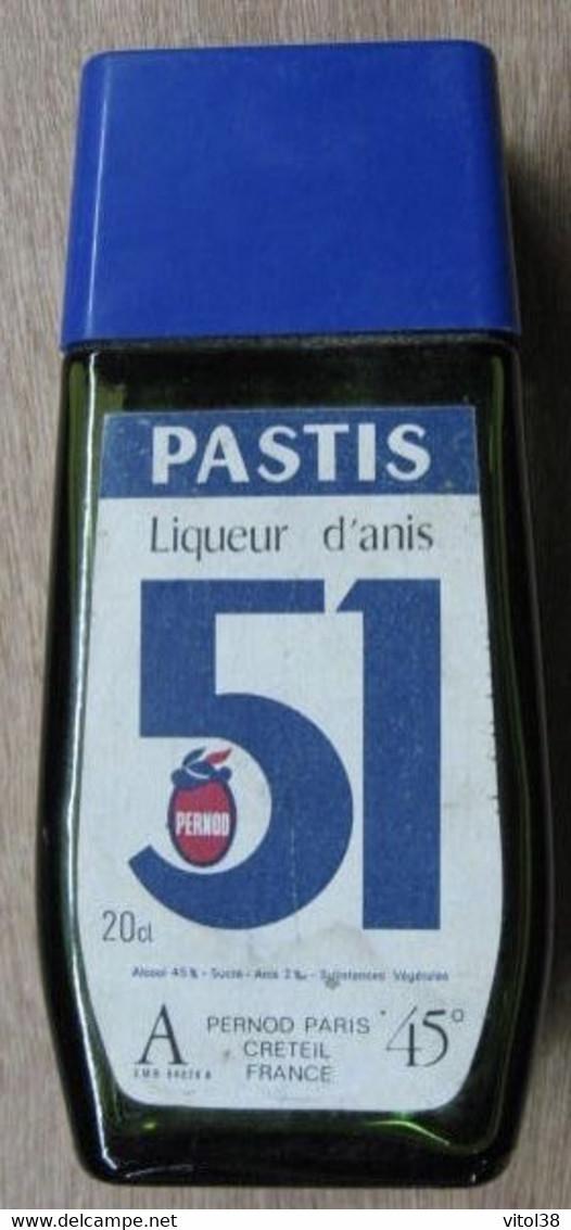FLASQUE BOUTEILLE EN VERRE VIDE 20 CL PASTIS LIQUEURS D'ANIS 51 PERNOD PARIS CRETEIL - Unclassified