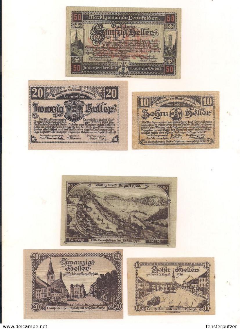3 Notgeldscheine Leonfelden 10, 20 + 50 H - Austria