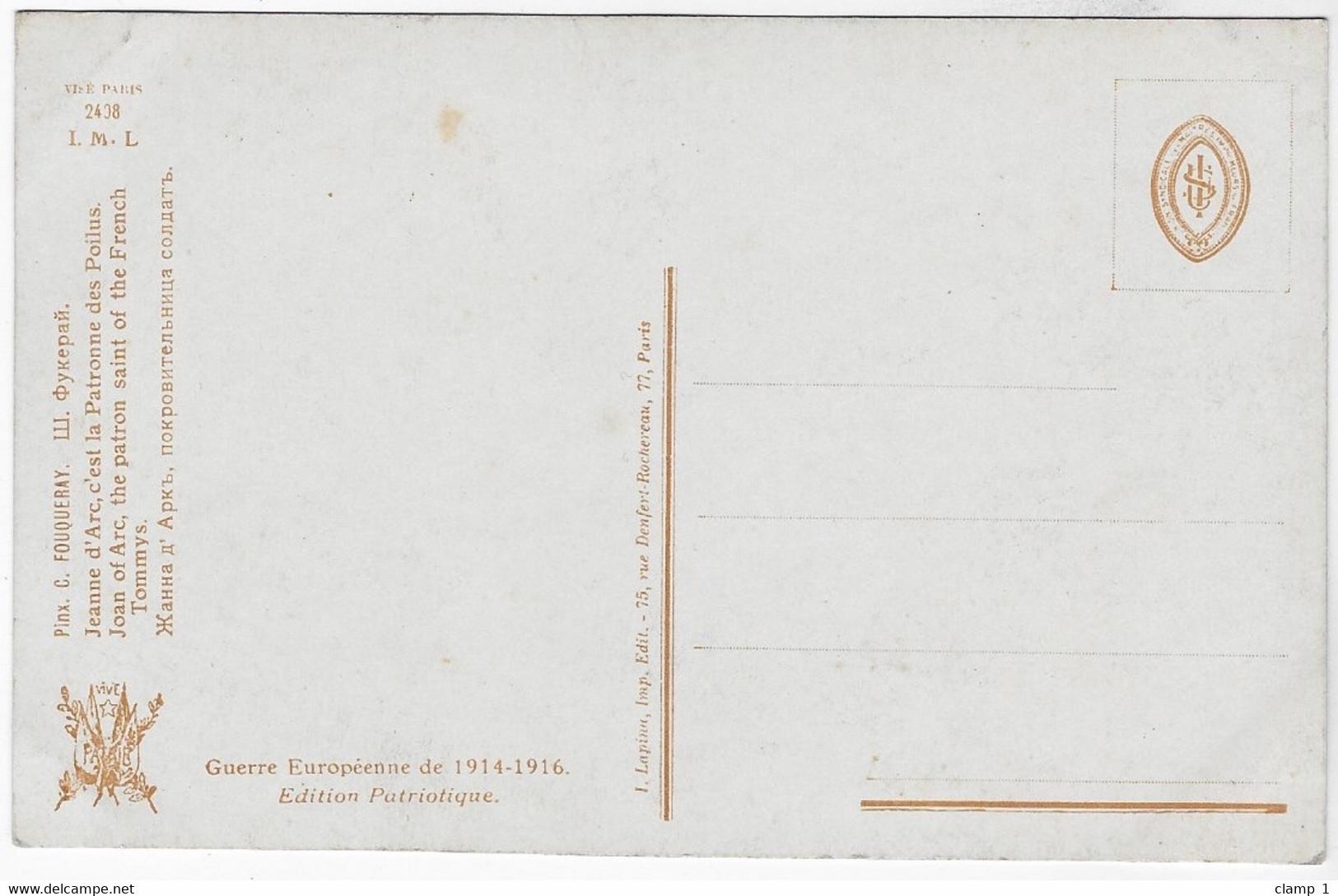 CPA ILLUSTRATEUR CHARLES FOUQUERAY  JEANNE D ARC C' EST LA PATRONNE DES POILUS    **WW1 ** - Other Illustrators